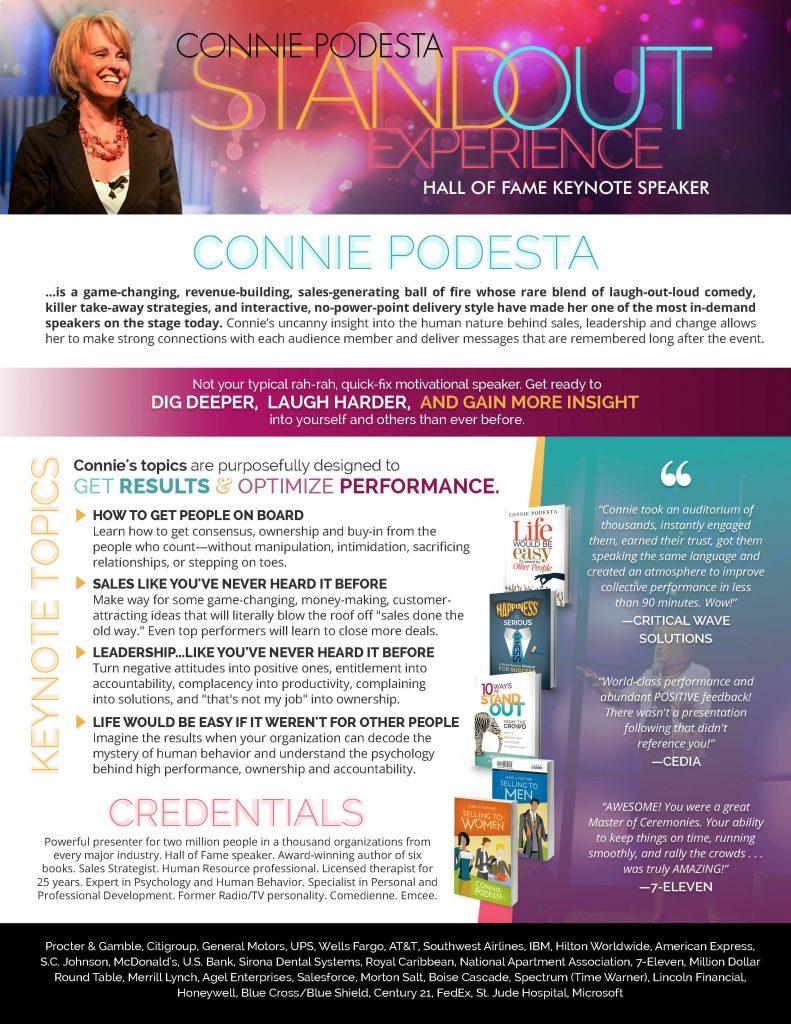 Motivational Keynote Speaker Connie Podesta Speaker